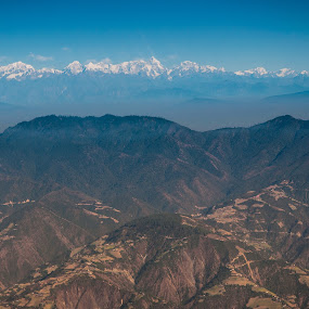 Himalayan range view from Airplane by Vorravut Thanareukchai - Landscapes Mountains & Hills ( himalayan, mountain, village, everest, range, highest, airplane, view, top, nepal )