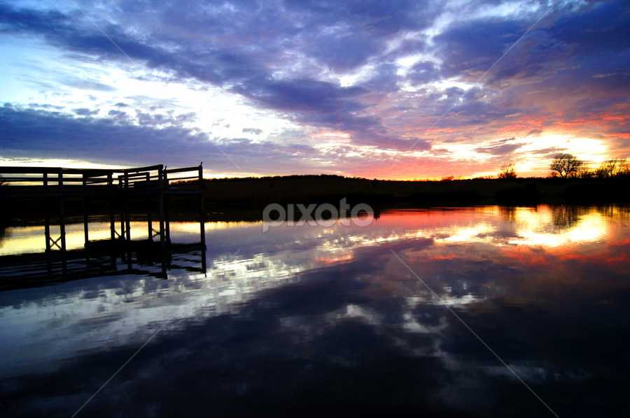 Abel Ranch Pond 2 by Nicole Abel - Landscapes Waterscapes ( water, reflection, peir, sunset, pond, dusk,  )