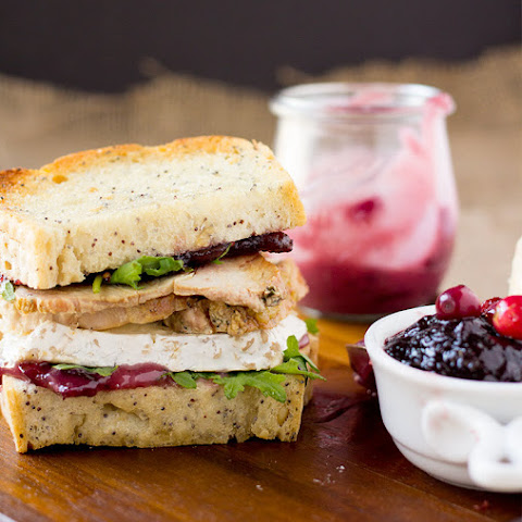 Gluten Free Turkey Sandwich with Brie, Cranberries, and Red Wine Aioli