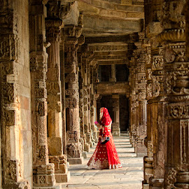 Indian Bride in Red ! by Agha Ahmed - Buildings & Architecture Public & Historical ( tomb, corridor, architecture, landscape, unesco, heritage, delhi, history, tower, red, woman, qutub minar, costume, india, monument, bride )