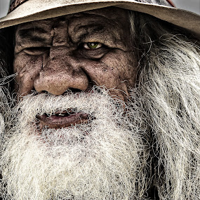 Campbell by Gary Beresford - People Portraits of Men ( walkabout., storyteller, aborigine, poet, australia, whiskers, outback, nomad, swaggie )