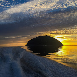 Rounding Ailsa Crag by Roderick Leitch - Landscapes Sunsets & Sunrises ( curling stones, ailsa craig, ayrshire, sunset, seascape, clyde coast )