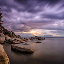 Tahoe Thunder by Steve Crowley - Landscapes Travel ( mountains, waterscape, beautiful, landscape photography, trees, long exposure, landscape, rocks, lake tahoe )