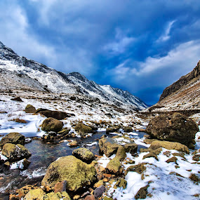 Llanberris Path Snowdon North Wales by Becky Wheller - Landscapes Mountains & Hills ( mountains, sky, winter, wales, snow )
