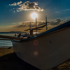 Rested by Ynon Francisco - Transportation Boats ( clouds, sky, sunset, banca, sea, boat )