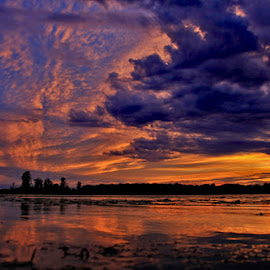 Stormy by Mike Grosso - Landscapes Cloud Formations ( crosswinds marsh, sunset, coulds, canon photography, silver lining,  )