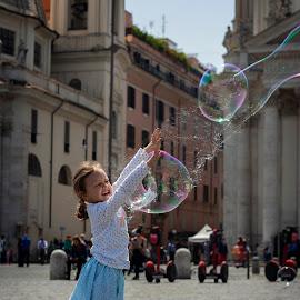 When the bubble pops by Máté Garai - Babies & Children Children Candids ( rome, freedom, bubble, kid, girl, italy, fun, child )
