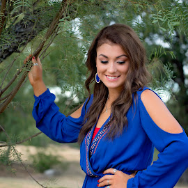 Blue by Carole Brown - People Portraits of Women ( gorgeous, trees, blue romper, brown hair, smiling )