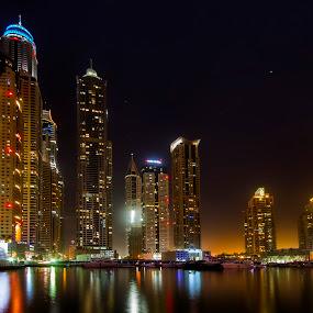 Along the Dubai Marina by Rafael Uy - City,  Street & Park  Skylines ( cityscapes, urban landscapes, dubai, uae, dubai marina, night, marina, architecture, nightscapes )