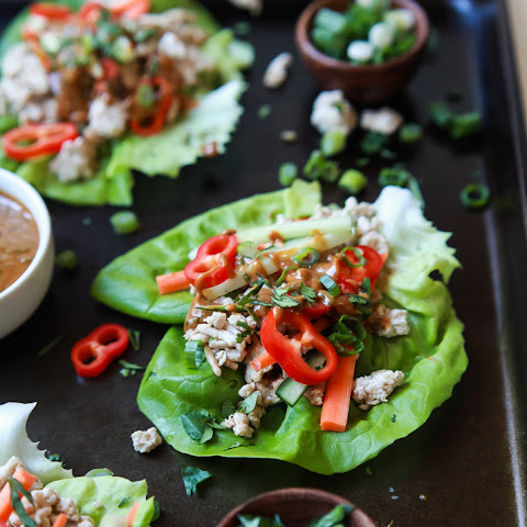 Thai Chicken Lettuce Wraps with Spicy Peanut Sauce
