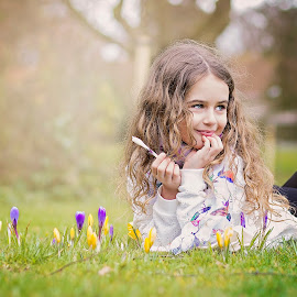 spring flowers by Melissa Marie Gomersall - Babies & Children Child Portraits ( green, blond, shine, chill, cute, spring, young, sun, child, curly, girl, sprilg, flowers, hair,  )