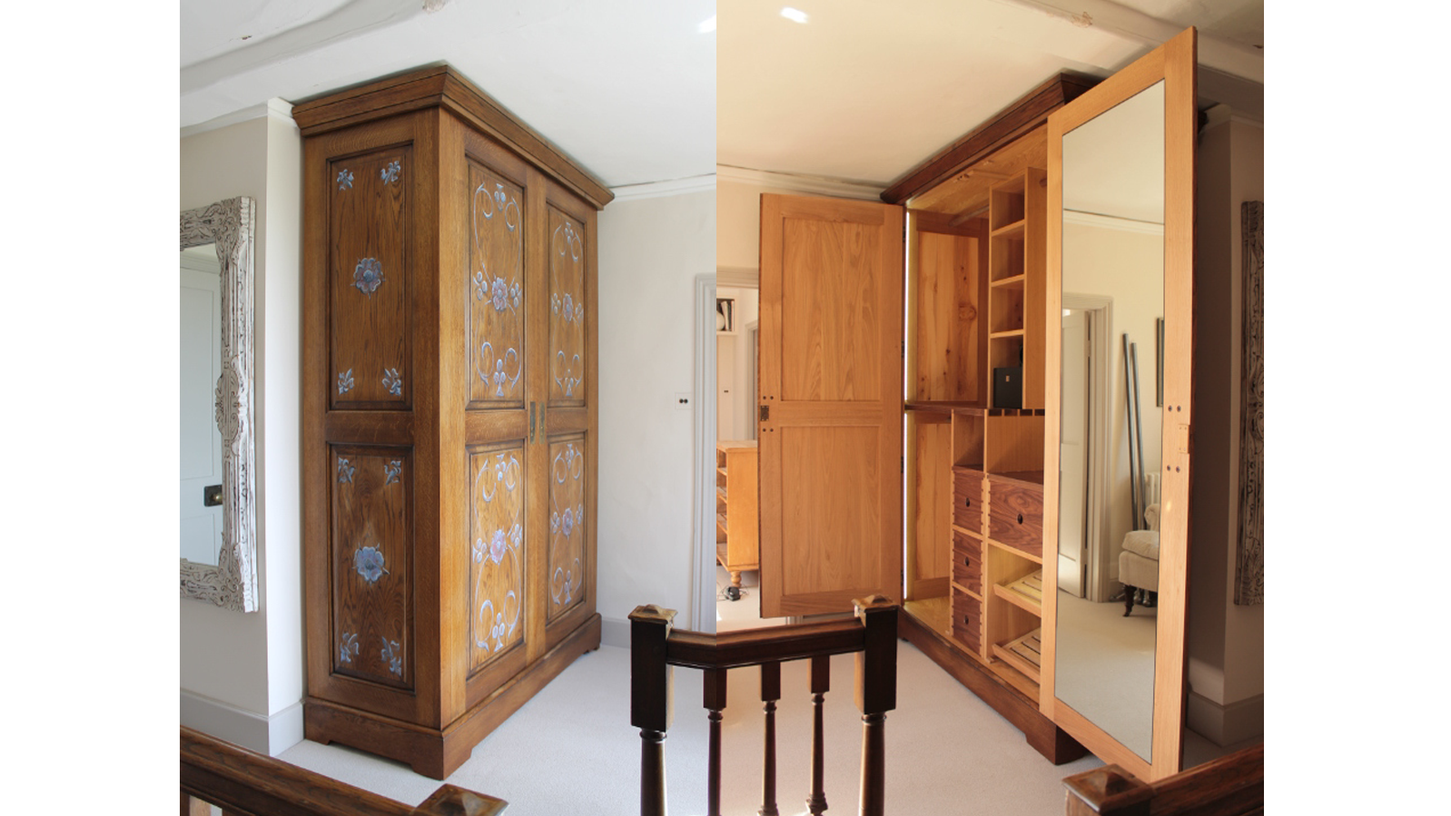 Bespoke Armoire - Traditional Raised Panels Constuction, Stained and Aged Oak with Modern Interior