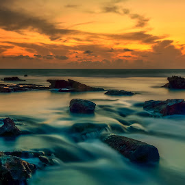 The infinity of space and time by Haim Rosenfeld - Landscapes Sunsets & Sunrises ( dor, dreamy, old, mystery, stone, rock, yellow, beach, travel, long, drama, contemplate, shot, middle, unreal, time, frozen time, ancient, sky, nature, spiritual, movement, place, surreal, light, black, foreground, climate, orange, dream, colors, texture, soul, mood, image, atmosphere, horizon, shape, dusk, picture, scene, moody, lines, view, natural, exposure, dynamic, shore, colorful, waterscape, land, beauty, landscape, israel, frozen, coast, sun, mediterranean, dreamlike, path, tide, dramatic, long exposure, ruins, rock formation, east, wet, nikon, evening, rocks, lonely, water, clouds, seashore, purple, waves, beautiful, sea, seascape, scenic, photo, great, blue, sunset, outdoor, brown, scenery, milky, stunning )