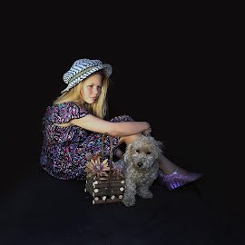 Girl with dog by Lize Hill - Babies & Children Child Portraits