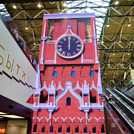 The digital installation_The Kremlyn clocks by Svetlana Saenkova - Digital Art Things ( red, clocks, digital, russia, installation, moscow, board )