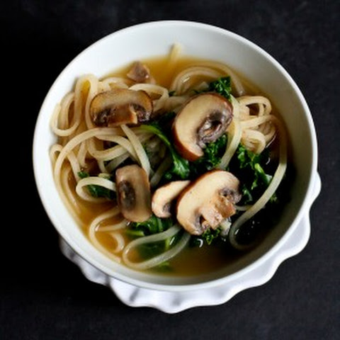 30-Minute Rice Noodle Soup with Mushrooms & Kale Recipe {Vegetarian}