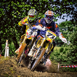 The Door Is Closed ! by Marco Bertamé - Sports & Fitness Motorsports ( purple, green, nine, number, yellow, race, duo, seventy-one, motocross, dust, clumps, soulder to soulder, fighting, 71, 9, duel, hard, competition,  )