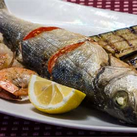 Bake Sea Bass and Shrimps with Eggplants