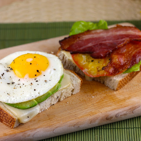 Fried Egg and Bacon Sandwich with Homemade Basil Mayonnaise