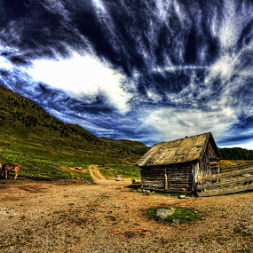 Little House by Marco Caciolli - Landscapes Cloud Formations ( mountains, sky, dolomiti, horse, cloud, house, animal )