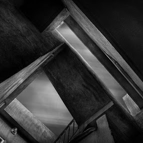 Directions  by Allen Adnan - Buildings & Architecture Bridges & Suspended Structures ( abstract, home, b&w, stairs, sky, black & white, high, architecture, surreal, photography )