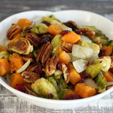 Roasted Brussels Sprouts and Butternut Squash With Cranberries