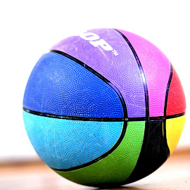 Basketball by Janine Kain - Sports & Fitness Basketball ( basketball, red, blue, green, sport, yellow, game, hoops, colours )