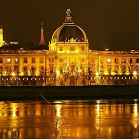 Lione by Night by Marco Caciolli - Landscapes Starscapes ( canon, water, lione, night, france, gold, travel, landscapes, nightscapes, city, river )