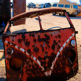 Needs Work by Becky McGuire - Transportation Automobiles ( buses, old, az, bus, becky mcguire, rusty, transportation, volkswagen, vw, havasu, tvlgoddess, arizona, rust, mohave, part, antique,  )