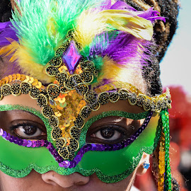 Mardi Gras Eyes by Stephanie Snow - People Street & Candids ( purple, green, mask, mardi gras, eyes )