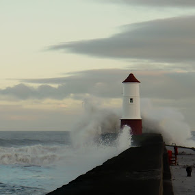 Stormy Sea by Paul Stevenson - Landscapes Weather ( northumberland, weather, pier, berwick upon tweed, stormy sea )