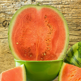 Watermelon Still Life by Jim Downey - Food & Drink Fruits & Vegetables ( bowl, whole, green, sliced, watermelon )