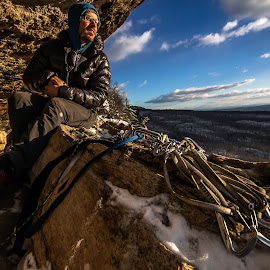 Warming Up by Matthew Robertson - Sports & Fitness Climbing ( rock climbing, winter, cliff, carabiner, new york, shawanagunks, rocks, sun )