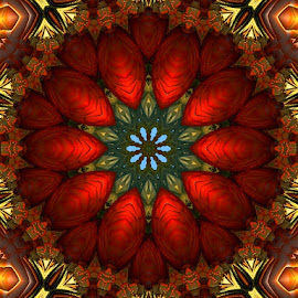 9 point kaleidoscope by Nancy Bowen - Illustration Abstract & Patterns ( golden background, star shaped, kaleidoscope, bright red )