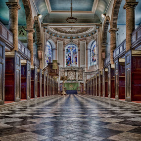 Down the aisles - portrait by Steven Stamford - Buildings & Architecture Places of Worship ( religion, modwen, old, tiles, floor, church, pattern, architecture, saint modwen, worship, religious,  )