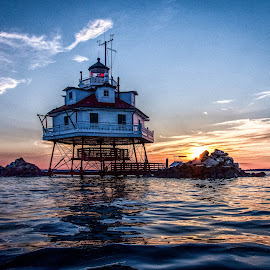 Pretty Sky and Water by Carol Ward - Buildings & Architecture Public & Historical ( annapolis, building, sunset, lighthouse, thomas point shoal lighthouse, maryland, chesapeake bay, architecture, historic )