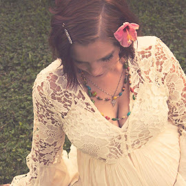 Mothers Gentle Touch by Lindsey Sides - People Maternity ( lace, maternity, motherly, mother, vintage, sunset, maternity photography, pregnancy, pregnant, magic hour, matte )