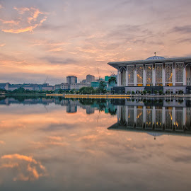 Mosque & Monument by Azzudin A. Aziz - Buildings & Architecture Statues & Monuments ( muslim, reflection, islam, masjid, mosque, putrajaya, malaysia, architecture, glowing, sunrise, morning )