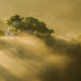 Rays of light by George Manea - Landscapes Weather ( fog, serenity, ray of light, house, morning, light, rays, mist )