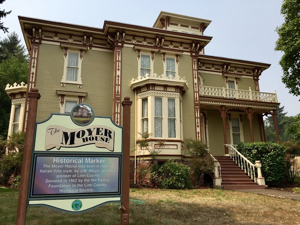 HISTORICAL MARKER The Moyer House was built in 1881, inItalian Villa style, by J. M. Moyer, an earlypioneer of Linn County.Donated in 1962 by the Hill FamilyFoundation to the Linn ...