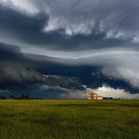 Whales Mouth by Daniel Johnson - Landscapes Cloud Formations ( contrast, shelf cloud, storm, landscape, powerful )
