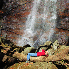 She is lying down to capture her best image, by Terry Linton - Nature Up Close Water ( tree, nature, woman, waterfall, log, people, photographers, taking a photo, photographing, photographers taking a photo, snapping a shot,  )
