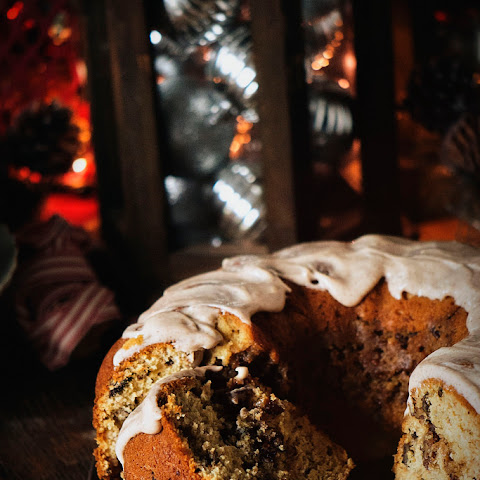 Browned Butter Coffee Cake with Spiced Maple Cream Cheese Frosting