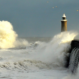 i am  by Paul Pirie - Landscapes Weather ( tide, wave, lighthouse, sea, weather, pier, wall, coast )