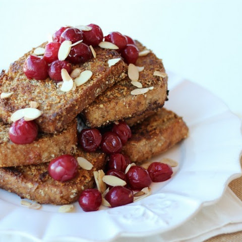 Almond Crusted Vegan French Toast with Sour Cherries