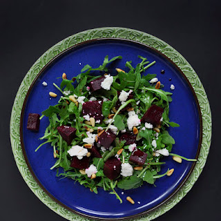 Marinated Raw Red Beet Salad with Shredded Greens