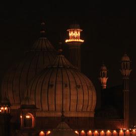 Jama masjid by Rahul Verma - Buildings & Architecture Places of Worship ( jama masjid mosque, night photography )