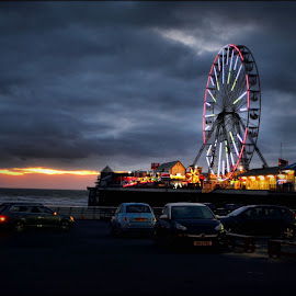 central pier blackpool by Nic Scott - City,  Street & Park  Street Scenes ( central pier, blackpool, ferris wheel )
