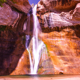 Everyone Loves A Waterfall! by Jan Irons - Landscapes Waterscapes ( utah, lower calf creek falls,  )