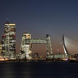 Rotterdam De Hef & Erasmus bridge by Brigitte Dechow - City,  Street & Park  Skylines